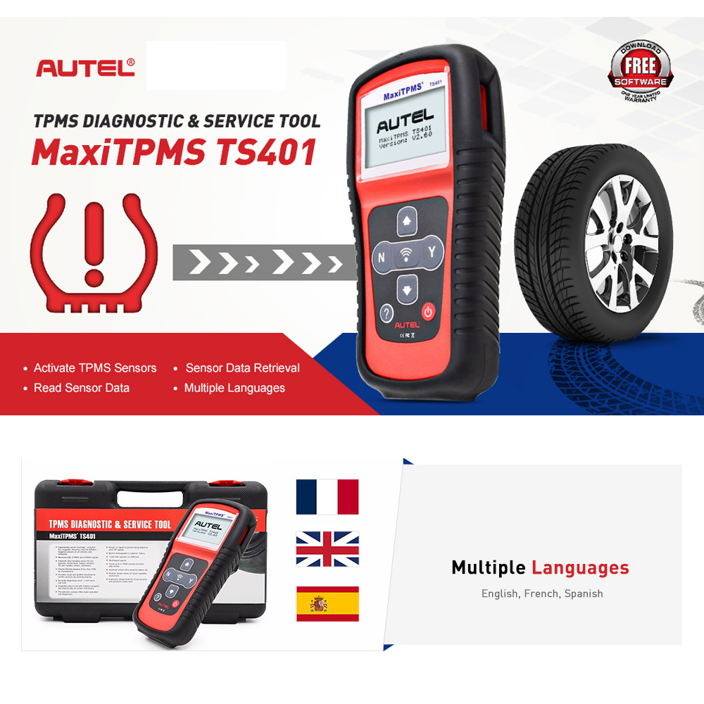 Image 2 - Autel MaxiTPMS TS401 Tire Pressure Monitoring System OBD2 TPMS Diagnostic Scanner Tool Activate 315 433MHZ Sensor Programming
