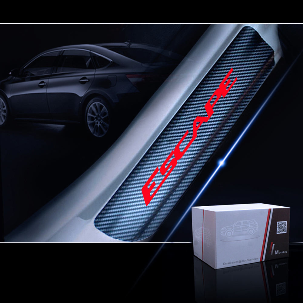 4pcs Carbon Fiber Anti Scratch Car Door Sill Sticker Scuff Plate Cover Panel Step Protector Car Door Sill Sticker