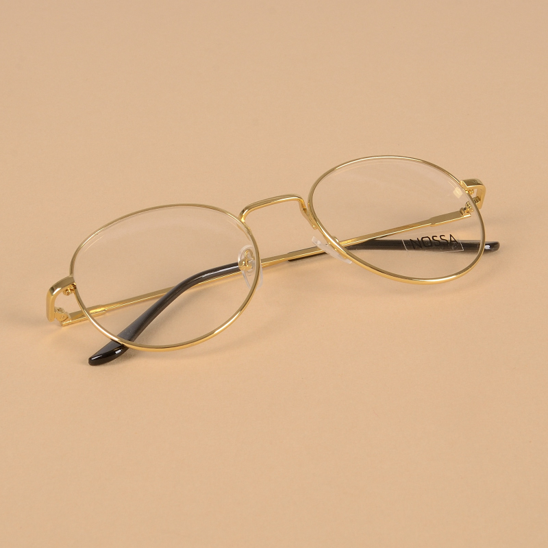 Muži a ženy klasické kulaté zlaté brýle rám vinobraní jednoduchý styl kovové brýle jasné objektivy myopie optické brýle rámy