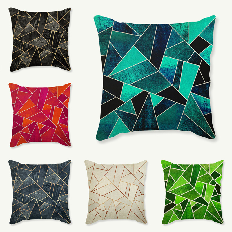 Linen Cushion Covers Throw Pillows Home Decorative Cushion Cover 45x45cm Abstract Geometric Diamond Pillow Case Black Grey Blue