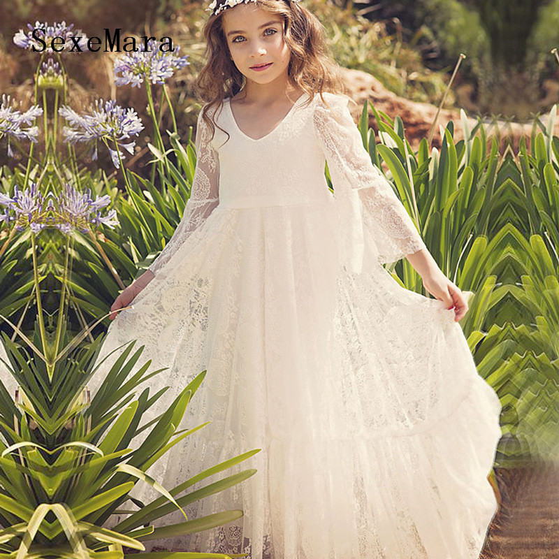 Ivory   Flower     Girls     Dresses   Long Sleeves V Neck For Weddings Lace Appliques Birthday   Dress     Girls   Communion Gowns Custom Made