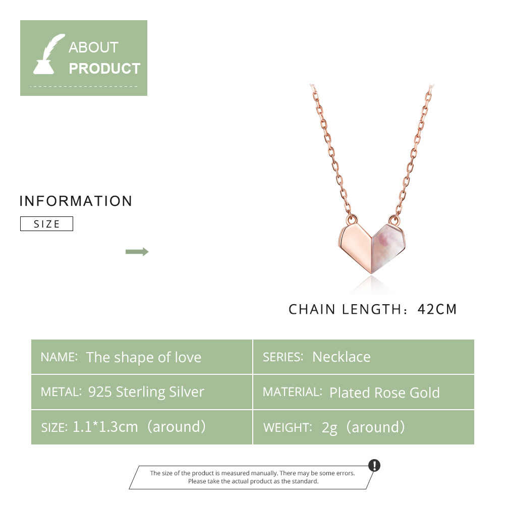 bamoer Floding Heart Shell Choker Necklace for Women 925 Sterling Silver Short Chain Neckalce Rose Gold Color Jewelry SCN330