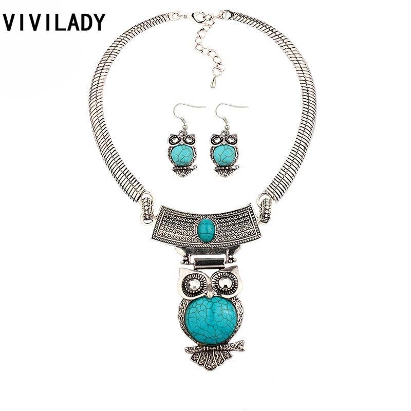 VIVILADY robustní sova přívěsek přírodní pryskyřice kámen šperky sady ženy OL Vintage Silver Color Boho Hot náhrdelník náušnice Party dárek