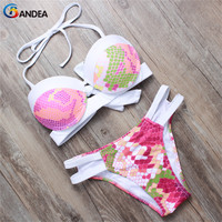 2016 Summer Style Women Push Up Padded Bikini Set Sexy Halter Hollow Out Swimsuit Brazilian Swimwear
