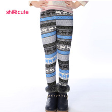 2015 Spring Autumn Winter New Fashion Children's 3-9 Year Cotton Warm Pant Girls Kids Flower Thickening Trousers Print Legging
