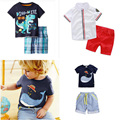 new 2016 brand boys clothes sets fashion 100% cotton print  T-shirts and pants baby boys clothing TZ041314