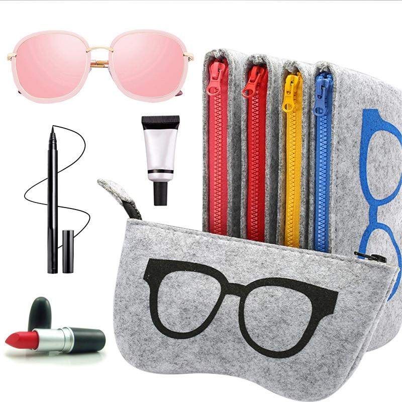 Exquisite Wool Felt Cloth Eyeglass Case Women Sunglasses Boxes Multiple Uses Lightweight Portable Soft Case Zip for Glasses Bag