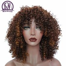 MSIWIGS Ombre สีดำสั้น Curly Wigs สำหรับผู้หญิงสีน้ำตาลสังเคราะห์ Afro วิกผมกับ Bangs ความร้อนทนผมสีแดง
