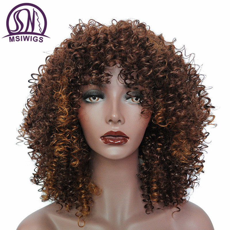 MSIWIGS Ombre Short Curly Wigs for Black Women Brown Synthetic Afro Wig with Bangs Natural Full