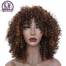 Msiwigs 옹 브르 짧은 검은 곱슬 가발 여성을위한 갈색 합성 아프리카 가발 bangs 내열성 빨간 머리