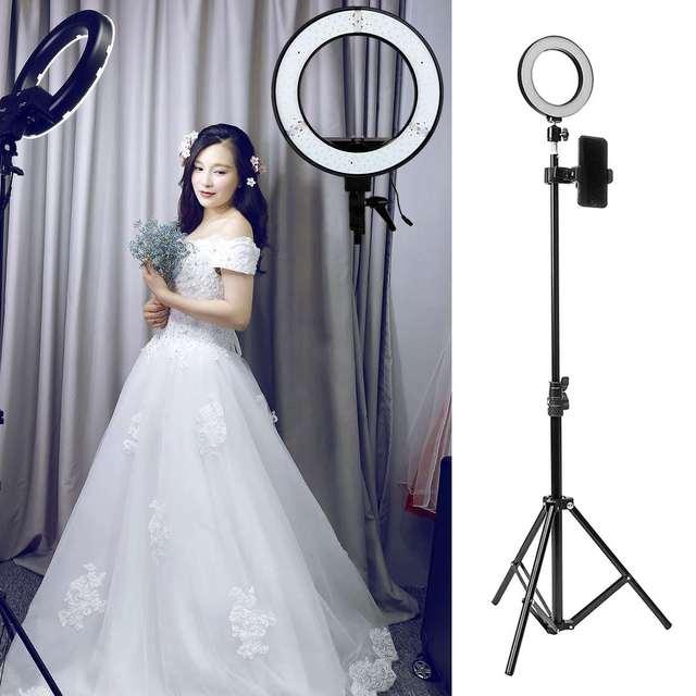 หลอดไฟ LED Dimmable Light Stand Kit Photo Selfie วิดีโอแต่งหน้า Live การใช้งานหลายฉากด้วยขาตั้งกล้อง 5W USB พอร์ต