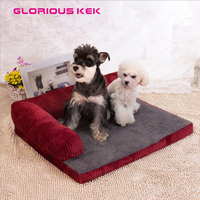 Luxury Dog Bed Sofa Waterproof Puppy Dog Bed Washable Corduroy Pet Sofa For Cats Dogs Small