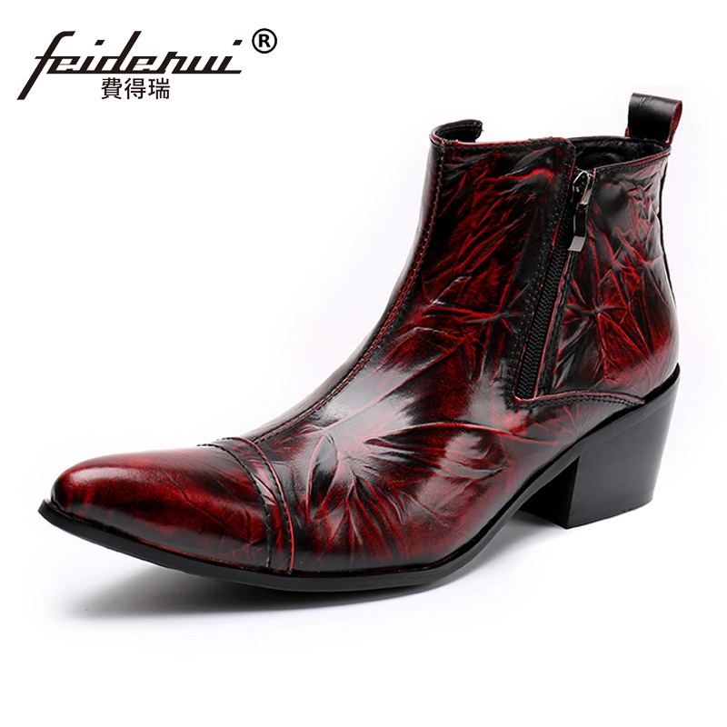 Plus Size Vintage Pointed Toe Studded Man Cowboy Shoes Italian Genuine Leather High Heel Men's Handmade Martin Ankle Boots SL192 xiangban handmade genuine leather women boots high heel ankle boots pointed toe vintage shoes red coffee 6208k11