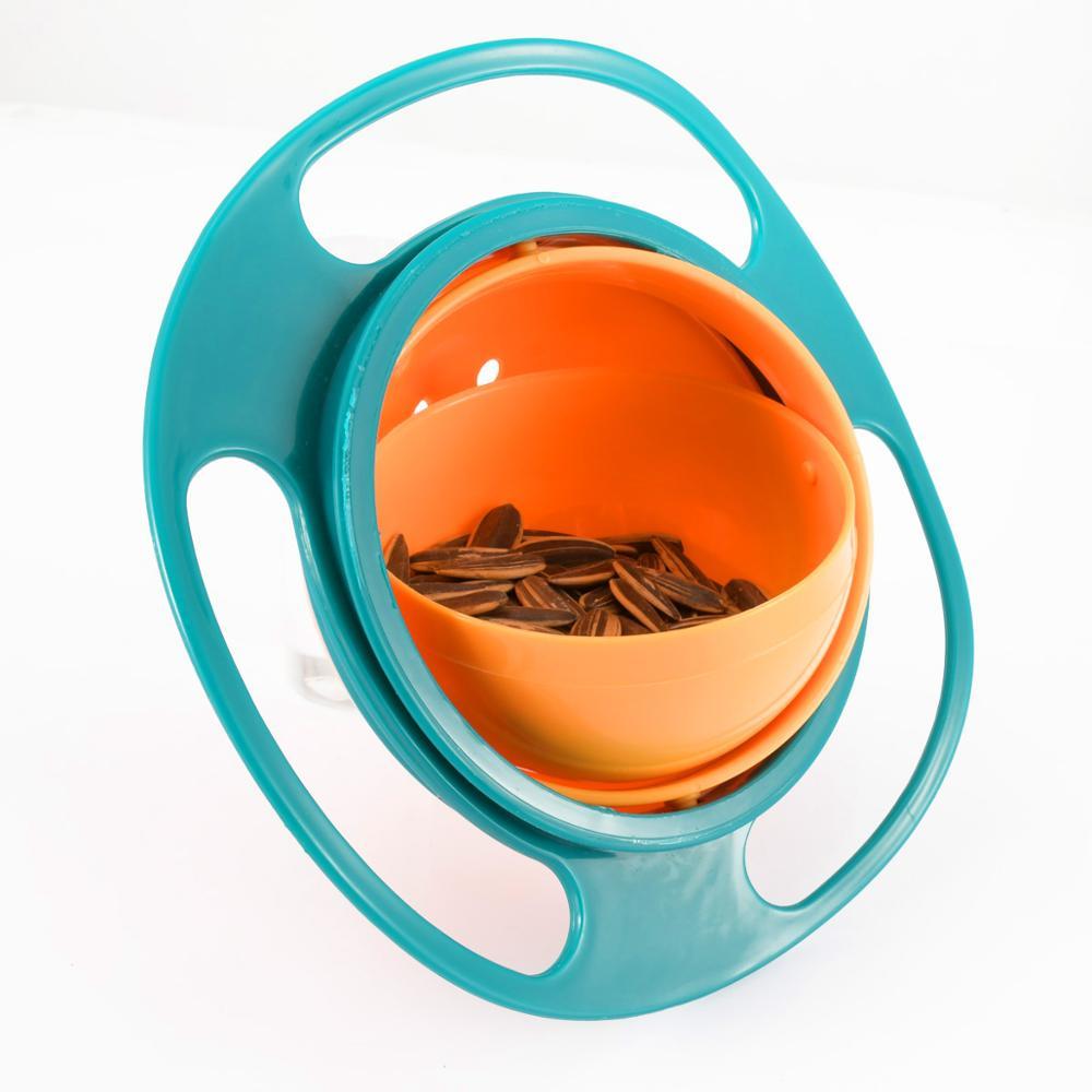 360 Degree Universal Baby Plate Feeding Food Bowl Bowl Blue Pink Color Platos Spill Proof Balance Kids Dish Baby Bowl