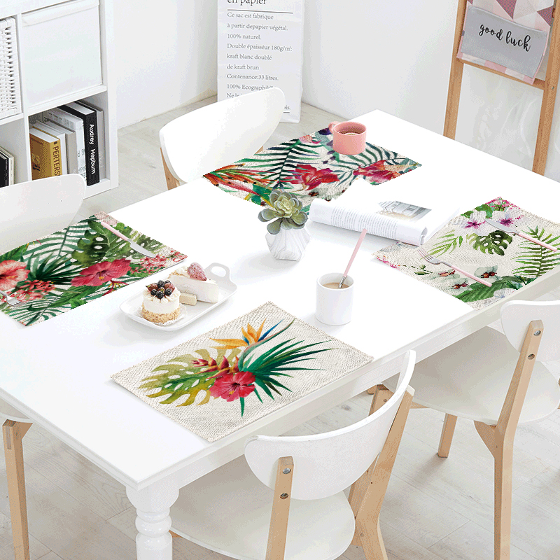 42*32cm Fashion Monstera Tropical Rainforest Plant Print Decoration Banquet Dinner Tableware Napkin Tablecloth Summer Table Mats