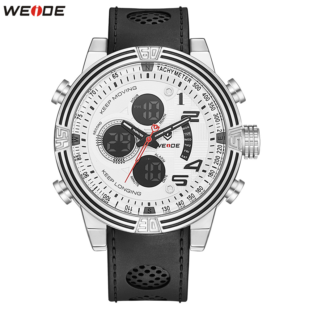 Top Sale Fashion WEIDE Waterproof Stopwatch Sports Watch Digital Quartz Watch Men LED Multiple Time Wristwatch Relogios Horlogio купить недорого в Москве