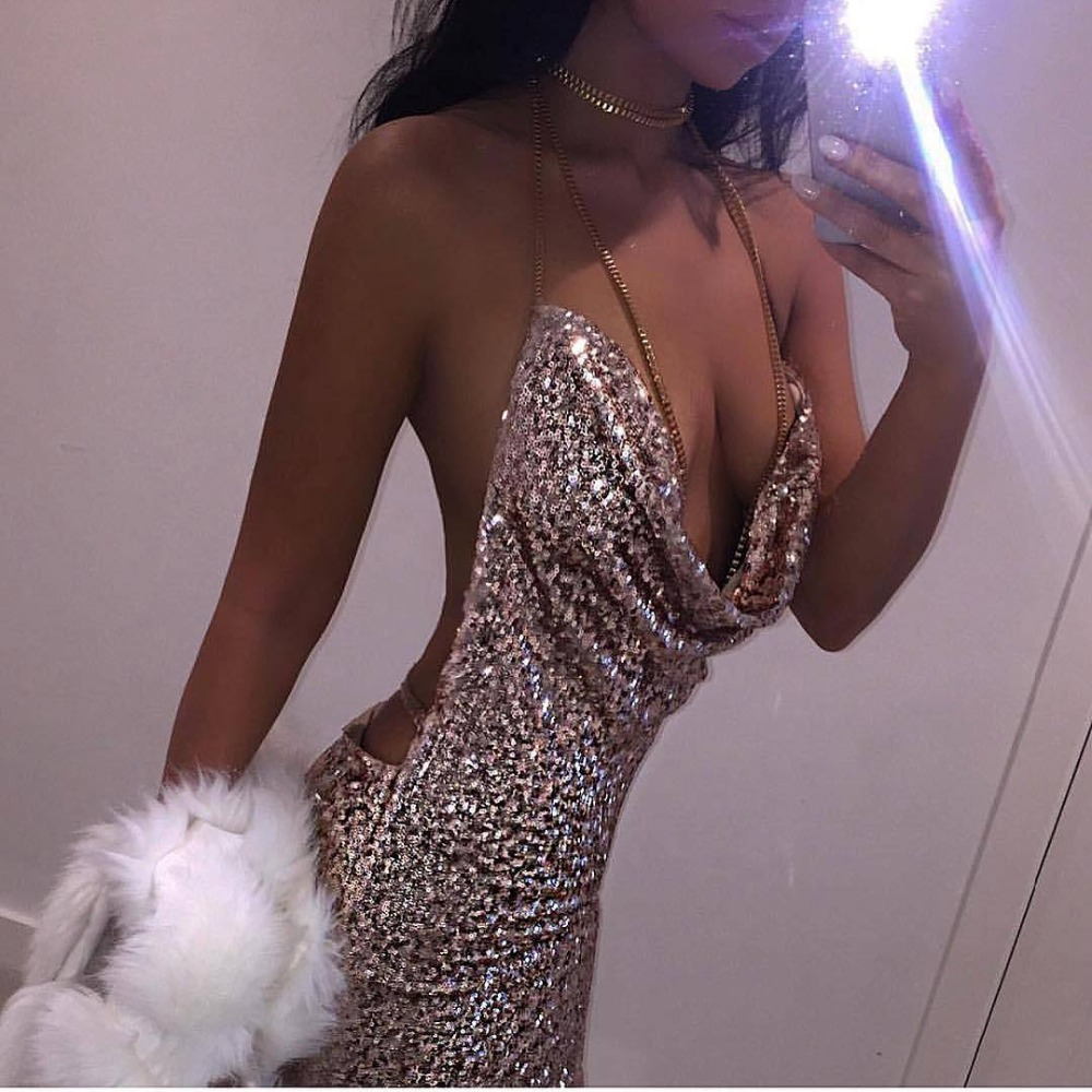 Ukraine Summer Women Sexy Halter Sequin Dress Glitter -5954