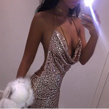 Ukraine Summer Women Sexy Halter Sequin Dress Glitter dress Gothic backless spaghetti strap Vestido Party Black sliver Gold XS