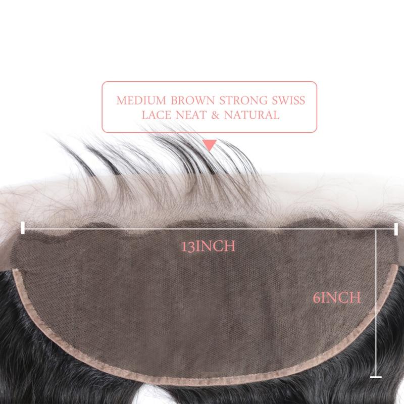 Ali Queen Hair 13x6 Lace Frontal Closure Brasilian Straight Virgin - Mänskligt hår (svart) - Foto 3