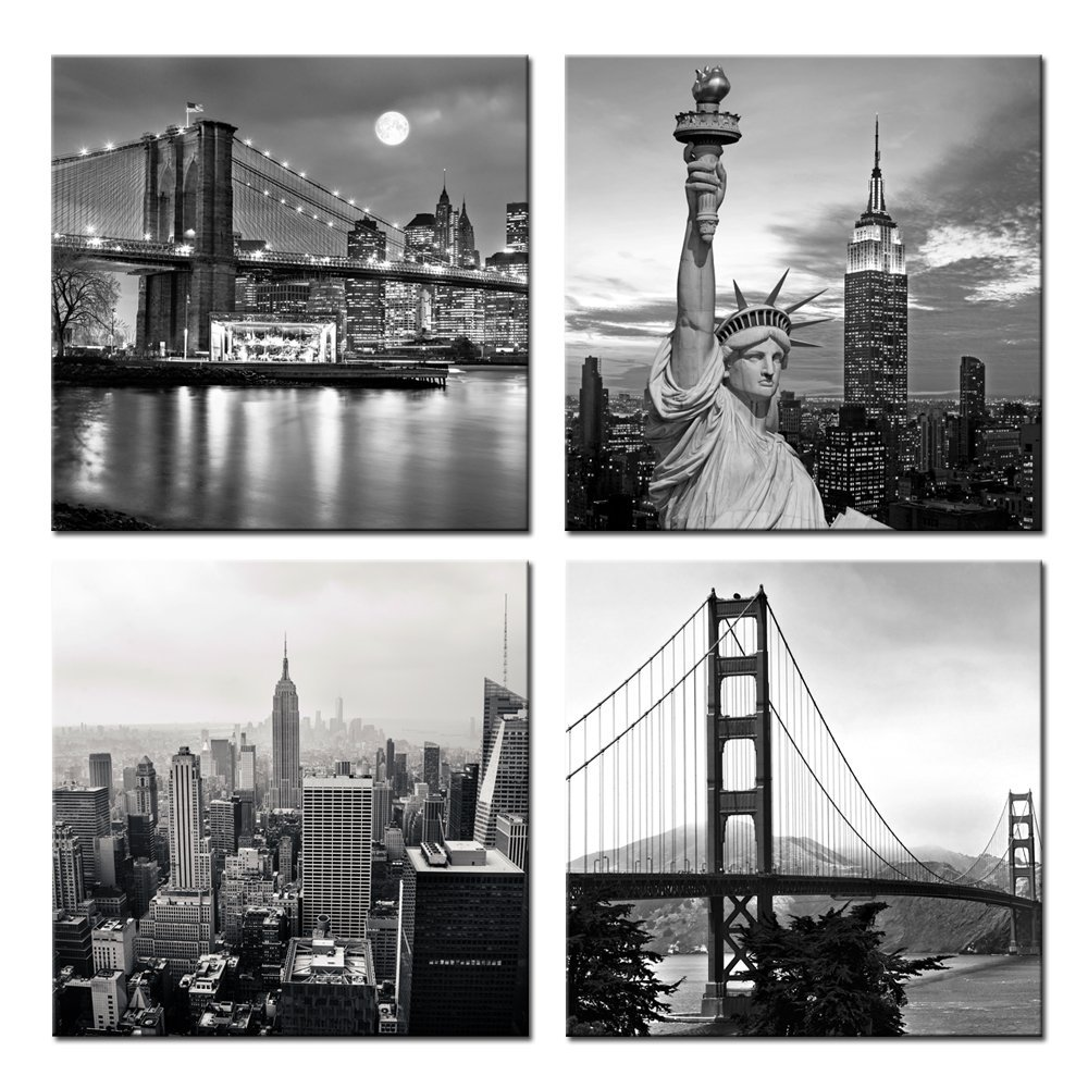 Canvas HD Prints Pictures 5 Pieces Black White Brooklyn ...  |Brooklyn Bridge Painting Black And White