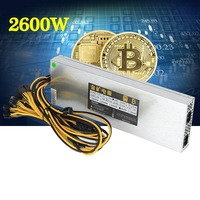 EU plug 2600W Ultra thin Mining Power Supply F/ ETH Rig Ethereum S7 S9 E9 High Quality Computer Power supply For BTC