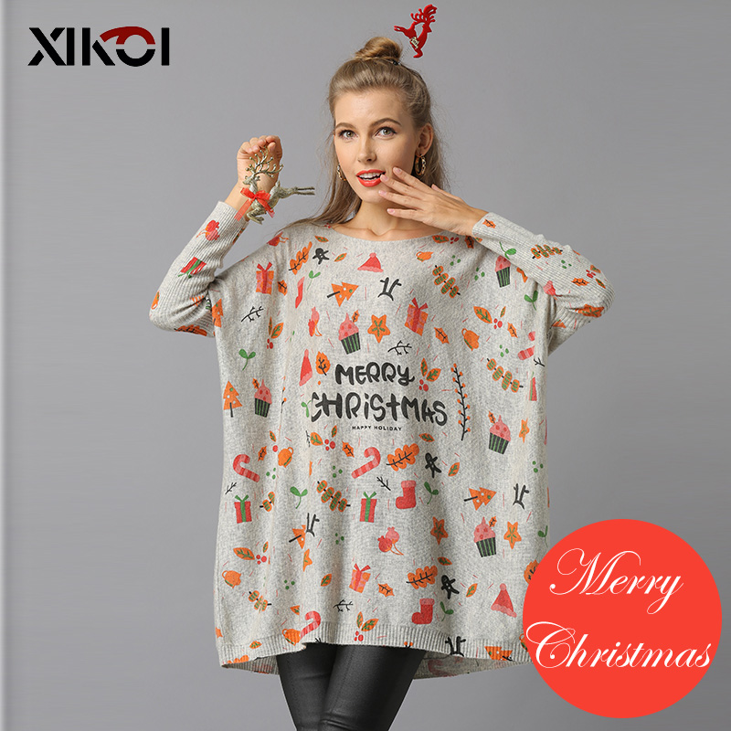 XIKOI 2018 Christmas Woman Knitted Sweaters Pullovers Casual Print Sueter Mujer Knitting Sweater Navidad Pullover Pull Femme