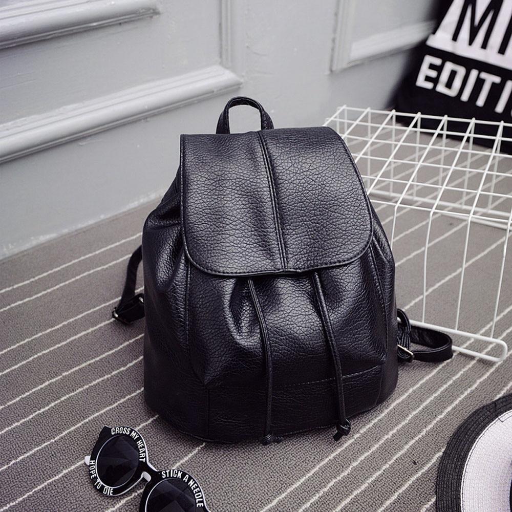 New Leather Backpack Women Backpacks Solid Schoolbag For Teenage Girl Waterproof Travel Bags For Women 2019 Deri Sirt Cantasi #2