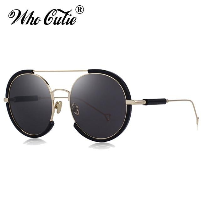 a7ac59b8f WHO CUTIE 2018 Vintage Oversized Round Sunglasses Women Men Brand Designer  Fashion Retro Black Sun Glasses