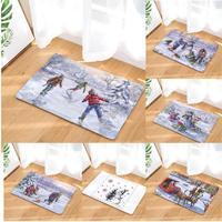 Vrolijke Tapijt Winter Ski Olieverf Kleed Leuke Kerstman Sokken Boom Bal Vuurwerk Decoratie Vintage Floor Mat Pad