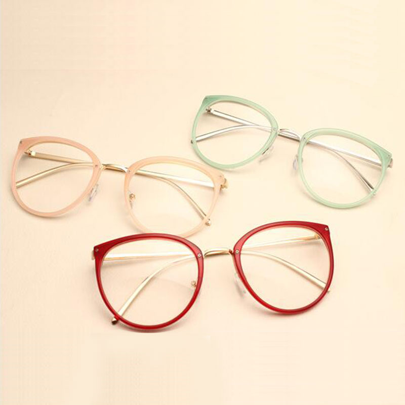 Nouvelle Arrivée Vintage Décoration Lunettes Optiques Cadre myopie ronde en métal femmes lunettes lunettes oculos de grau lunettes