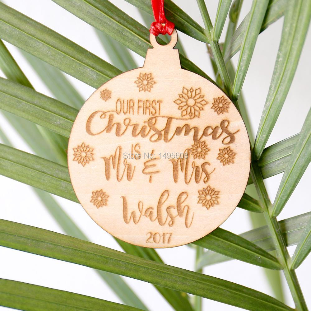 Our First Christmas Ornament Married - Personalized Christmas Ornaments - Mr and Mrs - Gifts Couple - Wedding Gift - Just Marrie ...