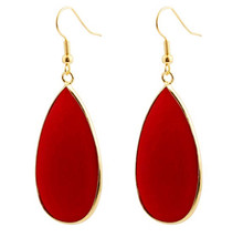 FYJS Unique Light Yellow Gold Color Water Drop Red Agates Earrings Elegant Women Jewelry