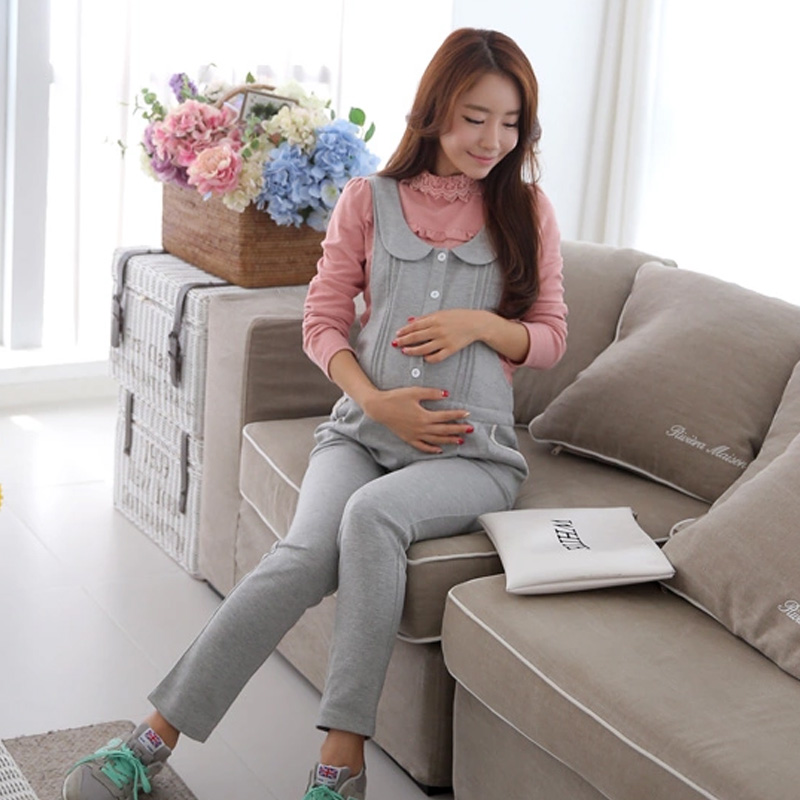 Casual Maternity Clothing Pants Spring Autumn Cotton Plus Size Overalls Pregnant Women's Large Size Suspender Trousers