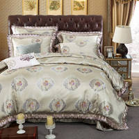 Romantic Bedspread King Size Jacquard Embroidery Silk Bedding Set Cotton Satin Duvet Cover 4 5pc Bed