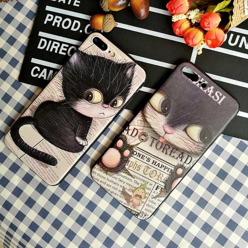 Мягкий чехол из ТПУ с милым рисунком кота для iphone X, чехол для телефона с 3D тиснением, цветная печать, Fundas, для iphone X 10, силиконовый чехол ТПУ