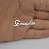 GORGEOUS TALE Stainless Steel Jewelry Personalized Name Simple Design Any Handwrite Fonts Available Pendant Necklace For