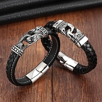 XANI Charm Leather Bracelet For Women Stainless Steel 19cm 21cm Size Genuine Leather Bracelets Bangles Men
