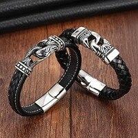 XANI Charm Leather Bracelet For Women Stainless Steel 19cm 21cm Size Genuine Leather Bracelets Bangles Men