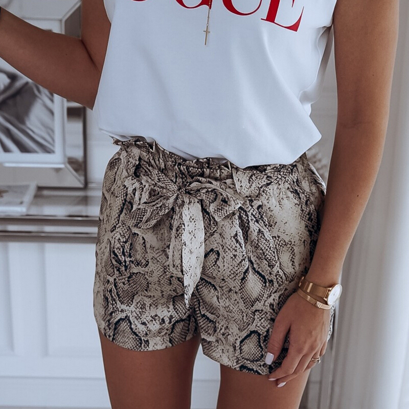 Fashion Women High Waist Tie Belt Dungaree Shorts Ladies Summer Trousers Hot Snake Skin Pattern Stylish Girls Shorts