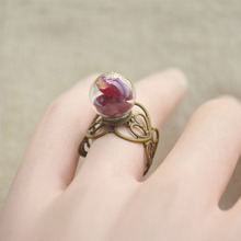 Red Rose Real Flower Glass Ball Heart Copper Resizable Rings For Women Love Vintage Party Retro Charms Fine Jewelry Handmade