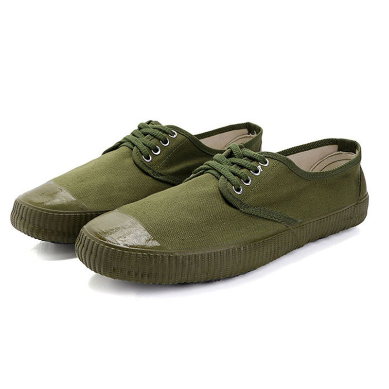 USHINE EU36-45 Canvas Wear-resistant Outdoor camouflage Military Training Farm Bulding Hiking Sneakers Shoes Man Woman big size