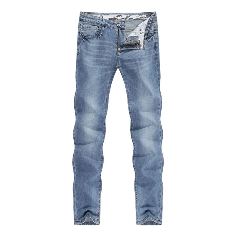 2020 Jeans Men Fashion Business Casual Straight Slim Fit Ultrathin Breathable Stretch Retro Blue Summer Denim Pants Plus Size 40 11