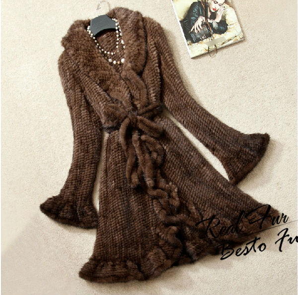 GTC204 2014 new style luxury women long flare sleeves ruched knitted mink fur coat female real fur jacket overcoats  garments