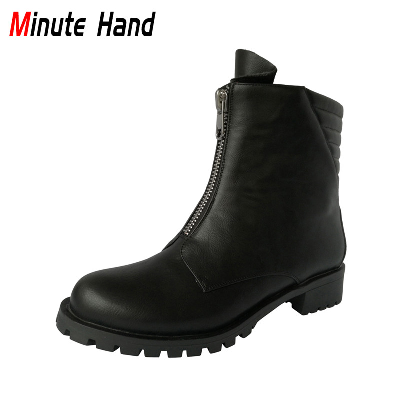 Minute Hand New Handmade Black Ankle Boots For Women Winter Shoes Round Toe Ladies Fashion Chunky Low Heel Booties Front Zipper fall low heel black side zip boots ankle metal booties short flat 2017 shoes ladies round toe female fashion new chinese