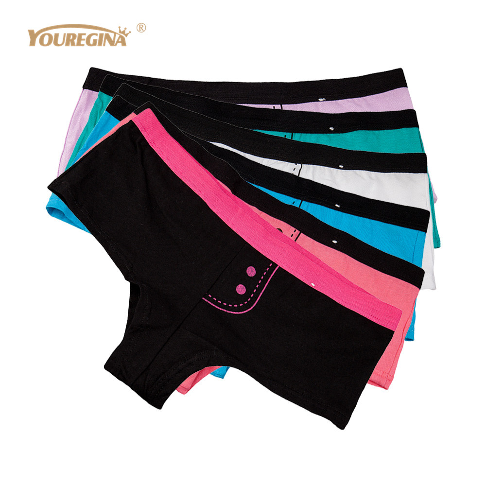 YOUREGINA Brand Woman Cotton Underwear Women Girls Shorts Boxers Ladies   Panties   Sexy Floral Boyshort Knickers for Women 6pcs/lot