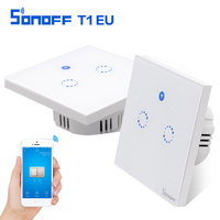 Sonoff T1 EU Smart Wifi Wall Touch Light Switch 1 2 Gang Glass Panel WiFi 433