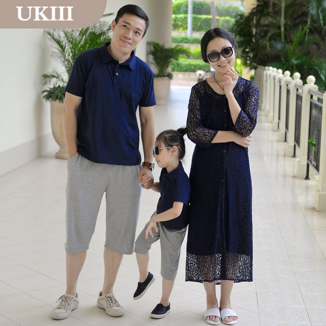 2016 New Dark Blue Family fitted Paternity Vacation Holiday Fashion beach dress skirt women girls dress father son matching sets