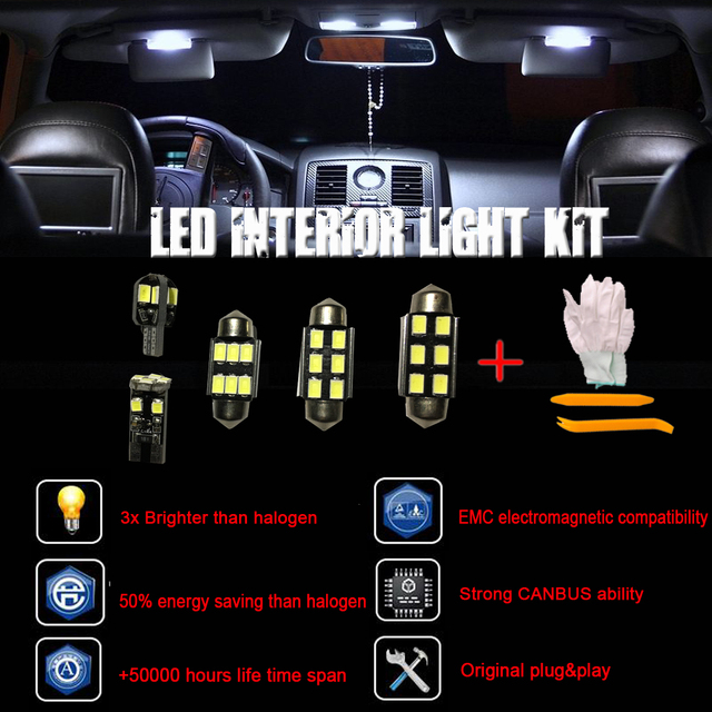 For 11pcs Smd Led Interior Lights Opel Astra J Opc Gtc Sports Tourer Bulbs White Installation Tool