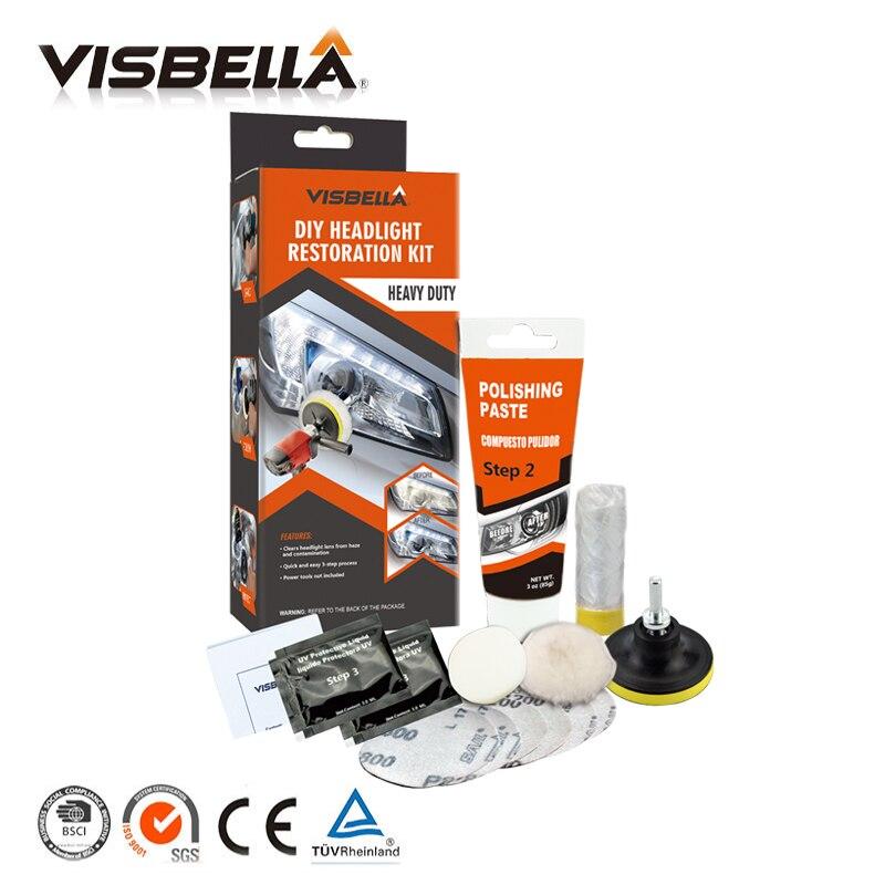 Visbella Scheinwerfer Polieren Paste Kit DIY Scheinwerfer Restaurierung für Auto Pflege Reparatur Hand Werkzeug Sets Kopf Lampe Linse durch Maschine