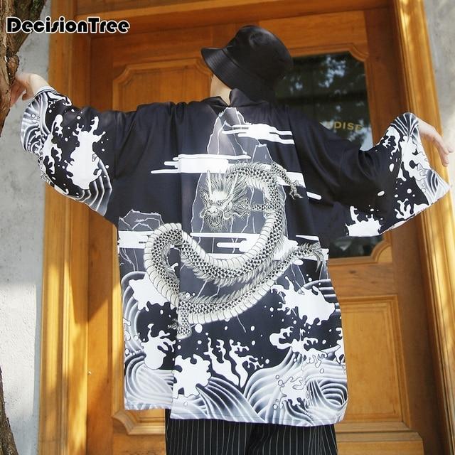 58266d9b7b61c 2019 nuevo kimono japonés ropa hombre streetwear casual chaquetas outwear  dragón olas chiffon impreso kimono